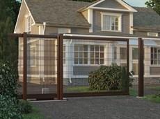 Откатные ворота с заполнением сварной сеткой