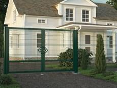 Распашные ворота с заполнением сварной сеткой
