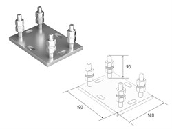 Подставка регулируемая для роликовой опоры под балку 71х60х3,5 - фото 4741